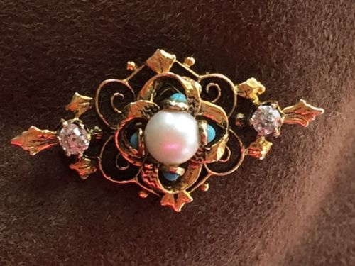 14K Gold Diamond, Pearl, and Turquoise Pin