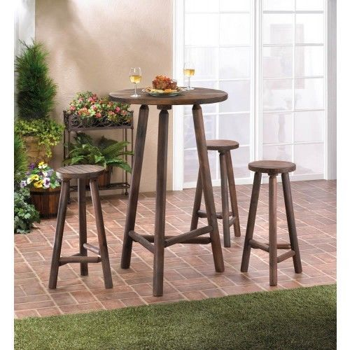 NEW INDOOR & OUTDOOR ENTERTAINMENT BAR TABLE AND STOOL SET