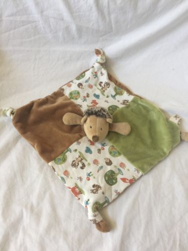 MAISON CHIC Baby Stuffed Plush HEDGEHOG Security Blanket LOVEY Toy Tan Green