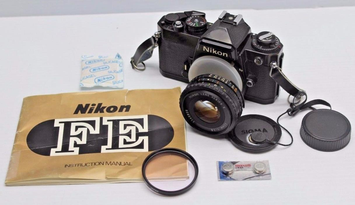 NIKON FE CAMERA BLACK & NIKON 50MM F1.8 LENS *MANUAL 35MM SLR FILM CAMERA