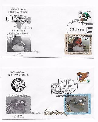 JDS1 & JDS2 1993 & 1994 Junior Duck Stamp First Day Cover unique covers