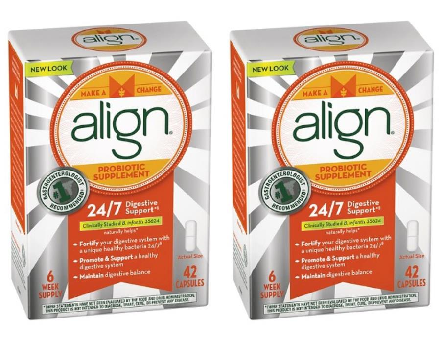 2 Pack Align Probiotic Supplement 24/7 Digestive Support 42 x2 84 Capsules 12/18
