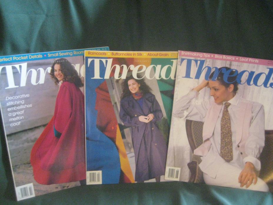 THREADS magazine vtg back issue LOT N 1993 #45 46 47 couture sewing needlework