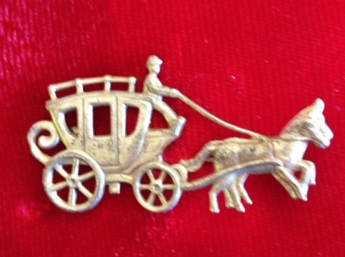 Estate Find Vintage Sterling Silver Open Work Horse & Carriage Buggy Pin Brooch