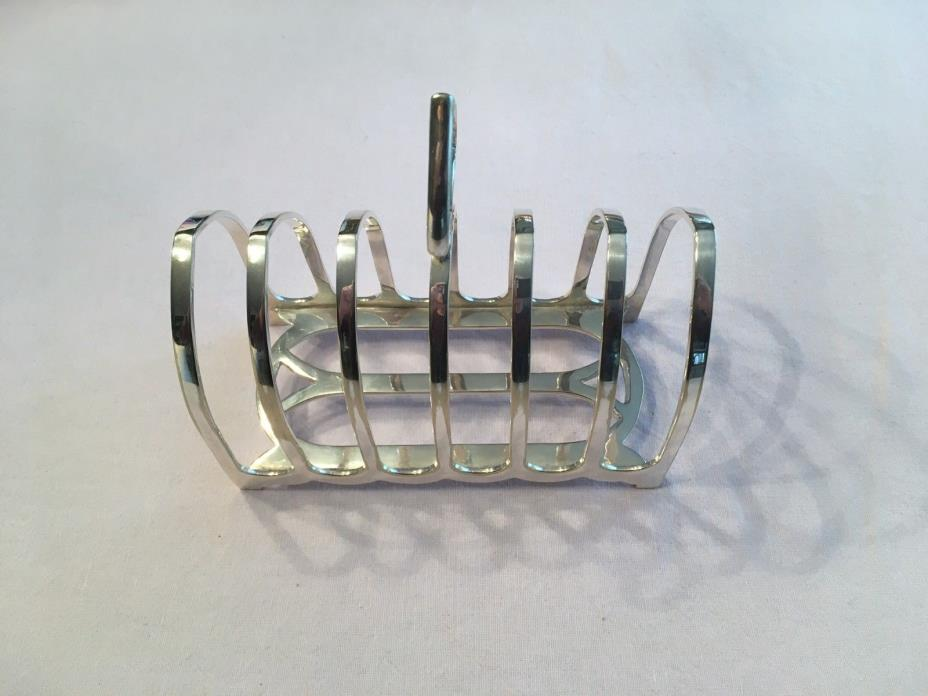 CA 1870 SHEFFIELD ENGLISH SILVER TOAST RACK or LETTER HOLDER