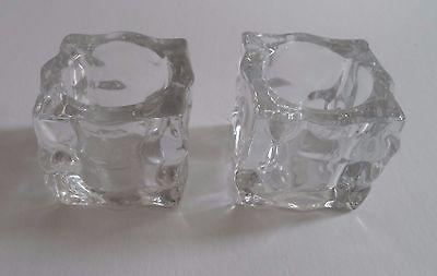 NIB Set of 2 PartyLite Glass Ice Cube Glacier Votive Candle Holders