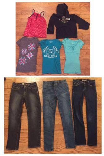 Girls Sz 12 Lot Leggings 3 Skinny Jeans + 4 Shirts + Hollister Hoodie Sweatshirt