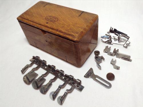 Antique Vintage Wood Singer Puzzle Box Sewing Machine Attachments Pat Feb 1889
