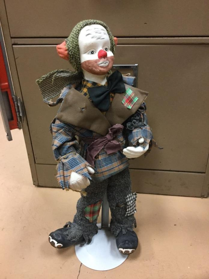 Large Vintage Porcelain Hobo Clown Hitchhiker Doll Approx 16 inches tall