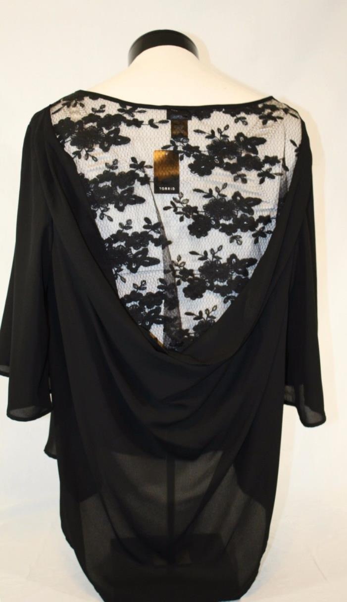 NWTS TORRID WOMENS Black With Laced Open Back Dressy Knit Top PLUS SZ-3X