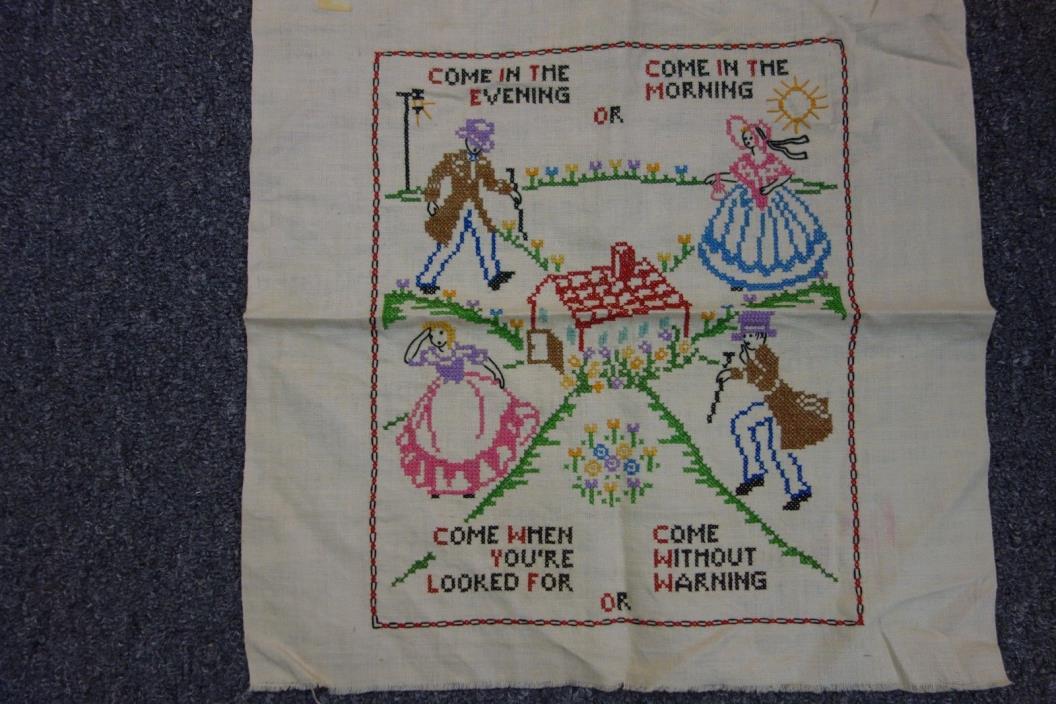Vintage Embroidered Sampler-12x14-Crosstitch-