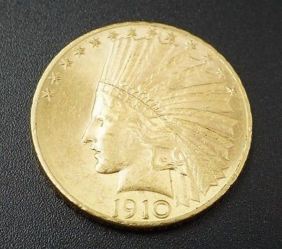 1910-D Indian Head 10 Gold Coin Denver Eagle Free Shipping M440
