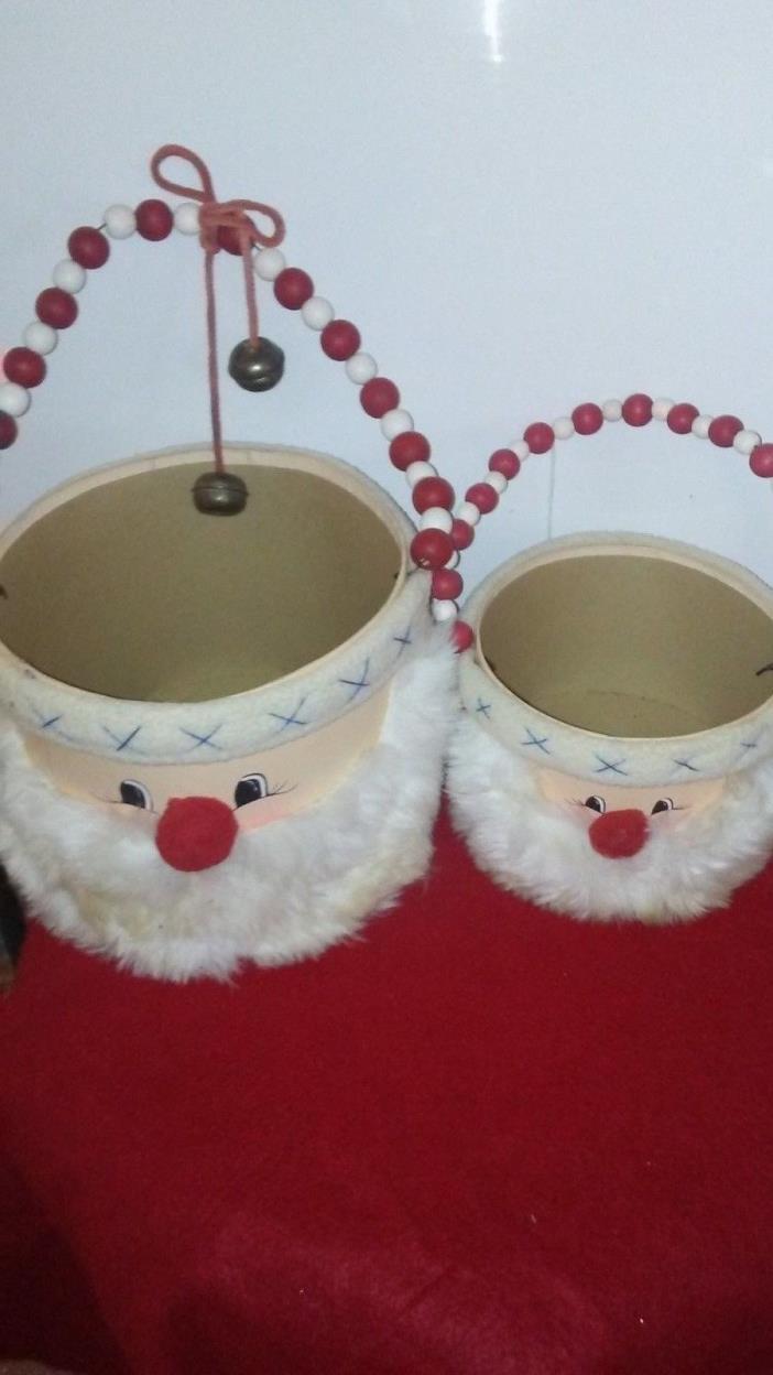 2-WOODEN SANTA DECORATIVE CHRISTMAS HOLIDAY BASKETS