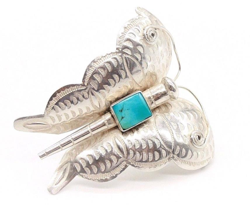 Vintage Sterling Silver Butterfly Brooch pin with Turquoise Stone 70mm , 33.5 gr