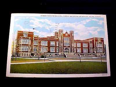 1936 ADMINISTRATION BUILDING, KANSAS WESLEYAN UNIVERSITY SALINA KANSAS POSTCARD