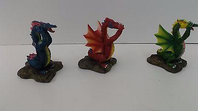 Set of 3 Ceramic Dragons Figurines Covering Their Eyes, Nose & Ears -Broken