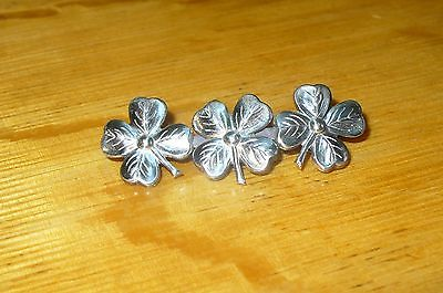 Beautiful Sterling Silver 4 LEAF CLOVERS  Pin Brooch