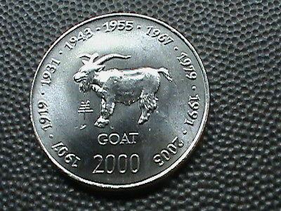 SOMALIA    10 Scellini   2000   BRILLIANT  UNCIRCULATED  ,   ZODIAC  ,   GOAT