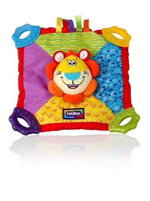 Nuby Teething Blankie. Squeak & Crinkle Teether & Blanket. Lion