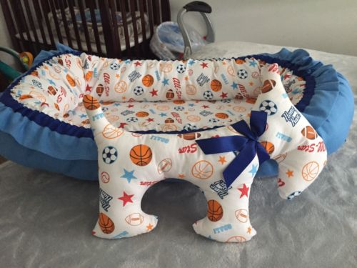 Baby Nest With Toy Dog . Portable Baby Nest For Boy