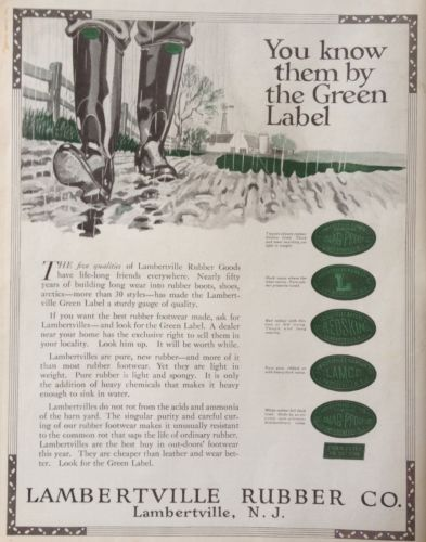 VINTAGE 1919 AD (XA2)~LAMBERTVILLE RUBBER CO. RUBBER BOOTS, LAMBERTVILLE, NJ.