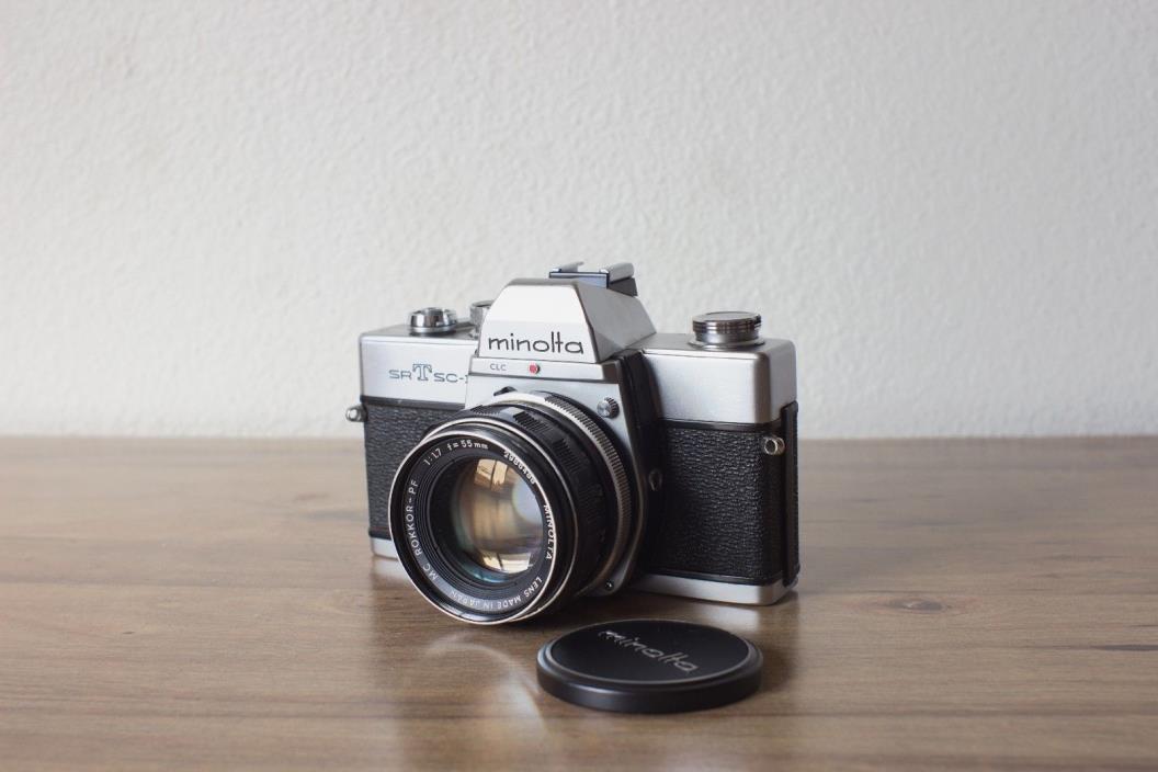 MINOLTA SRT SC-II 35mm SLR CAMERA EXCELLENT W/ MC ROKKOR-PF 55mm f1.7 Lens