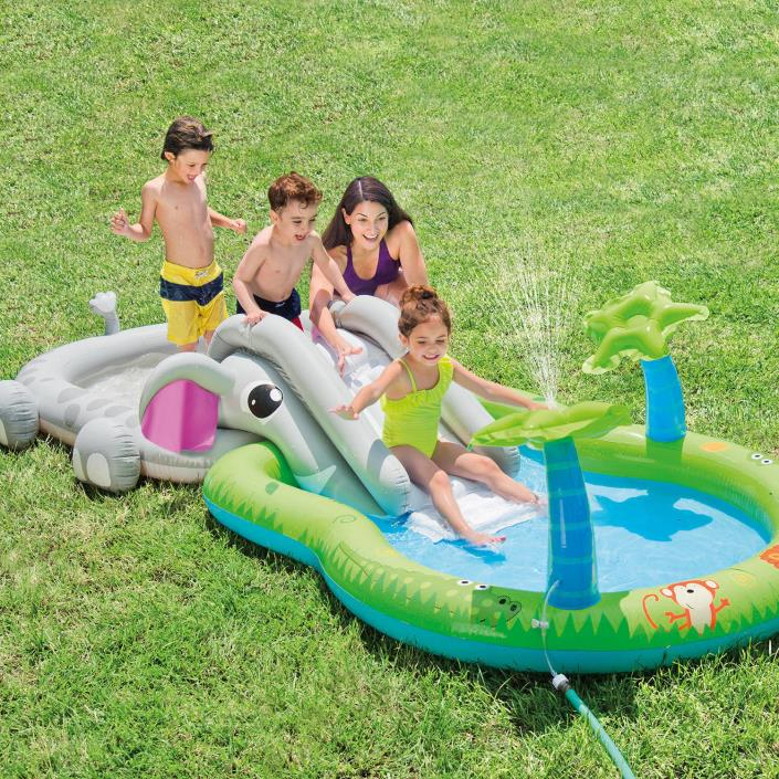 Intex Gator Play Center Inflatable Kiddie Spray Wading Pool Waterslide Backyard