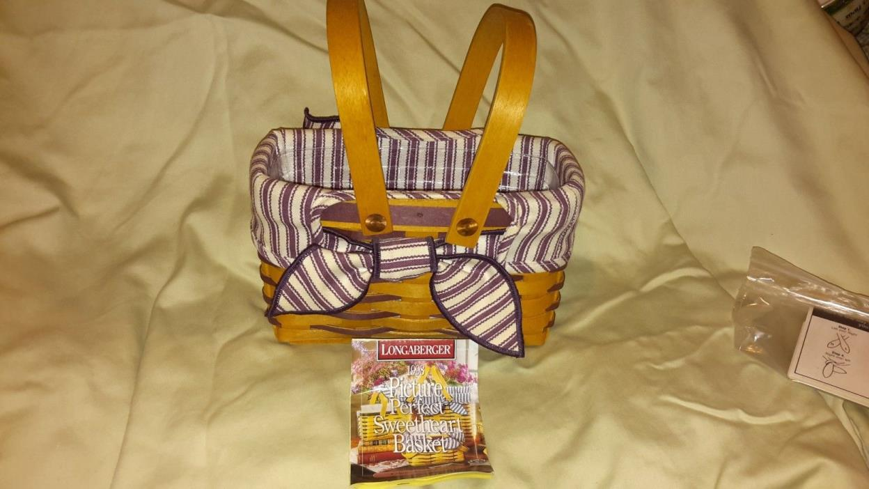 LONGABERGER 1998 PICTURE PERFECT SWEETHEART BASKET  SET. RARE PURPLE WEAVE!!