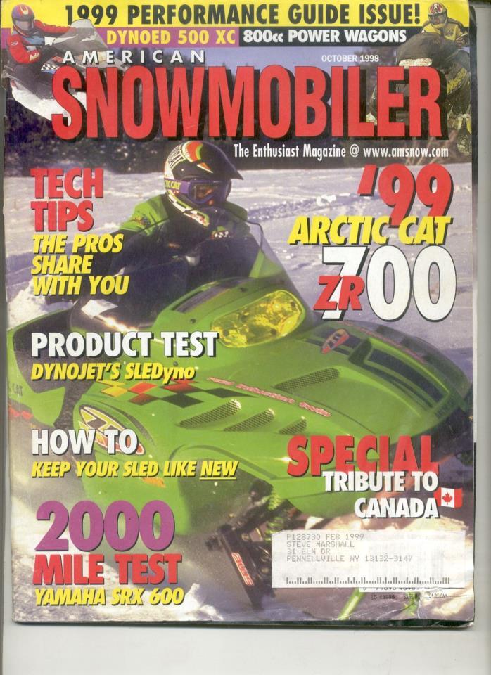 Vintage SNOWMOBILE MAGAZINE 1998 Arctic Cat ZR 700 Z 370 Yamaha SX 700 Hus-Ski