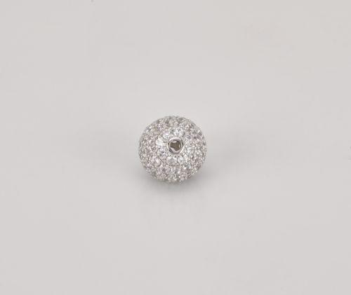 10mm Round Pave Hand Set Cubic Zirconium Color Beads