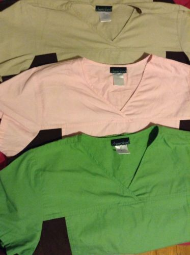 Flexible Cherokee Scrub Tops Lot Size XL, Green, Beige, Pink