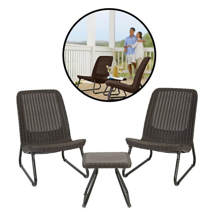 Durable Modern Patio Set Garden Conversation Brown Furniture Bistro Table Chairs