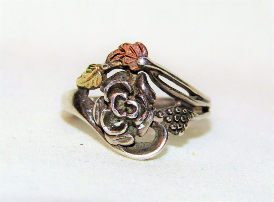 Estate 925 Sterling Silver & 12K Gold BLACK HILLS Rose Flower Ring 6.75