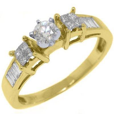 1/2 CARAT WOMENS DIAMOND ENGAGEMENT WEDDING RING ROUND PRINCESS CUT YELLOW GOLD