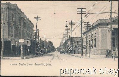 Poplar Street Greenville, Mississippi Original Postcard ca.1906
