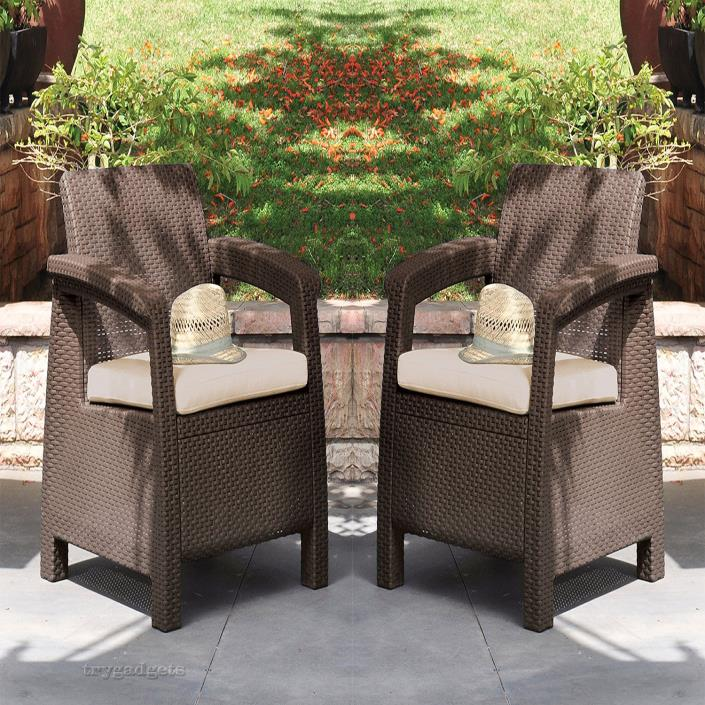 Patio Wicker Chair Outdoor Cushion Armchair Resin Garden Furniture Seat Brown