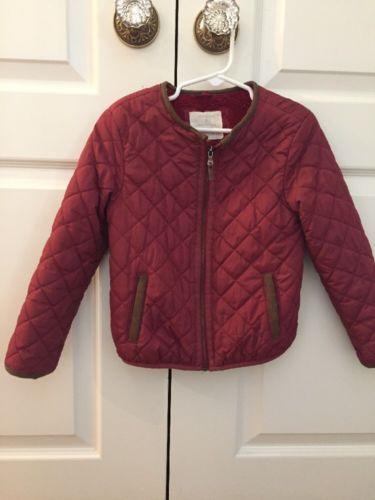 Zara Girls Burgundy Red Quilted Jacket Coat Size 4/5