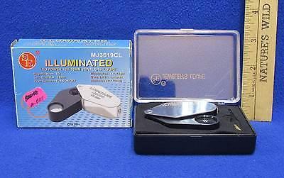 Illuminated Jewelers Loupe LED Power 10X Light 18MM w/Case Folding Pocket