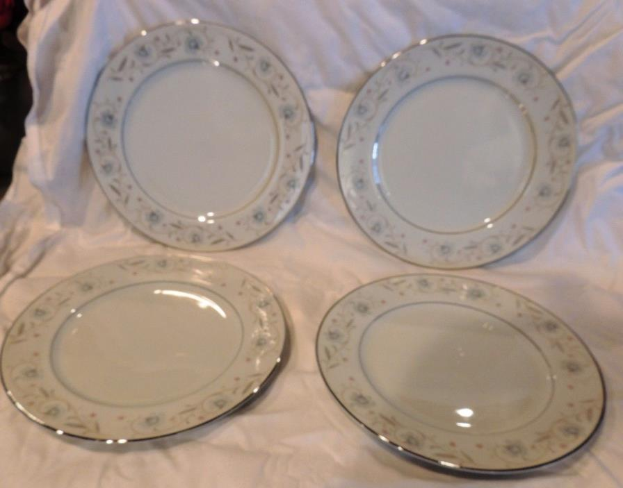 Set of 4 English Garden 1221 Fine China Japan Dinner Plates 10-1/4 10.25 Inches