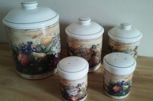 Certified International/Pamela Gladding WINDSOR/FRUIT~3 Canisters/Salt & Pepper
