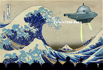 MST3K Print HOKUSAI Great WAVE Prince of Space Mystery Science Theater 3000 UFO