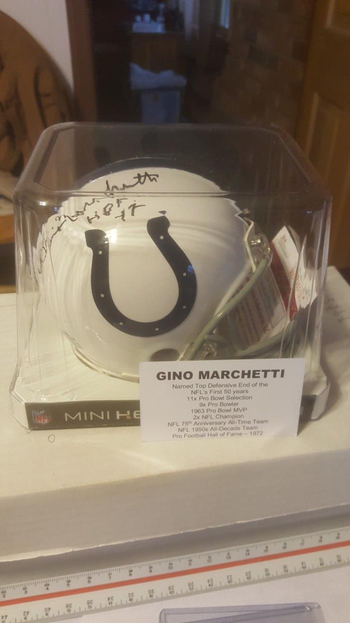 Gino Marchetti 2016 Tri-Star Autographed Mini-Helmet Baltimore Colts DE