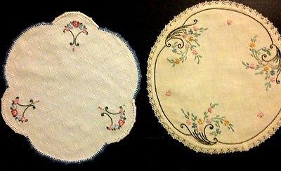 Two Lovely Art Nouveau Doilies Hand Embroidered Floral Motif Crochet Hems