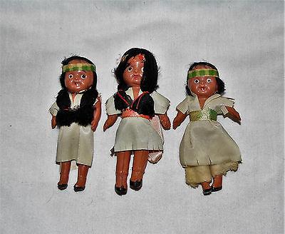 Lot of 3 Vintage Celluloid Souvenir Indian Dolls ~ Niagara Falls MIJ