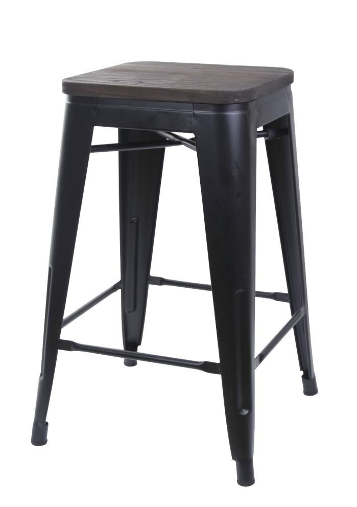 GIA 24inch Metal Stool with Wooden Seat Counter Height Square Backless Durable