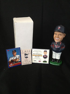 Ron Gardenhire Minnesota Twins Bobblehead w/Comm Card-Ticket Stub-Auto Card