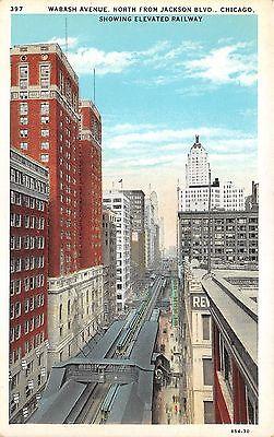Chicago Illinois~Wabash Avenue North @ Jackson Boulevard~Elevated Railroad~1933