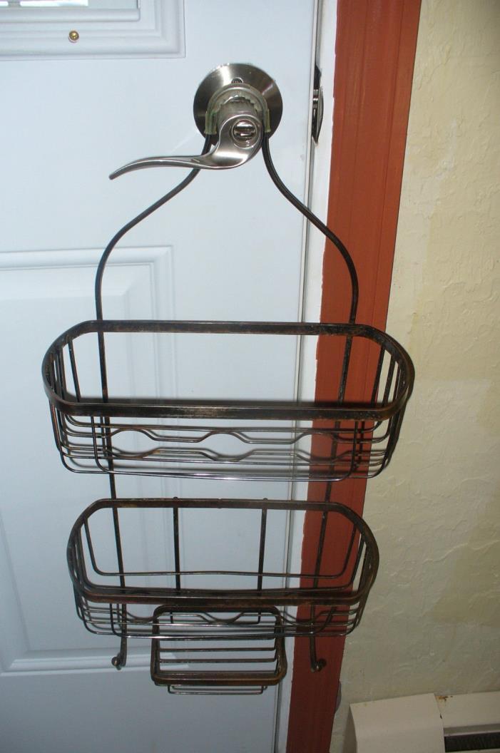 Deluxe Large Hanging Shower Caddy Metal SHELF SOAP SHAMPOO HOLDER