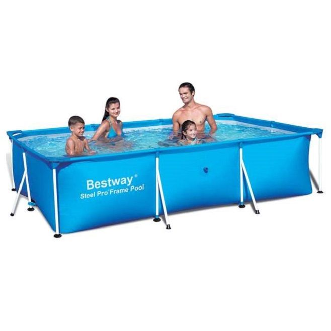 Kids Metal Frame Swimming Pool Above Ground Rectangular Heavy Duty 94 x 59 x 23
