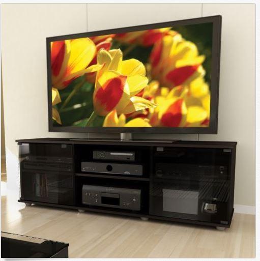 Black TV Stand Entertainment Modern Furniture Media Console Storage Cabinet 60